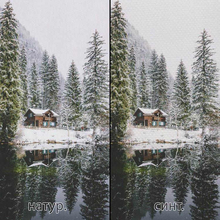 Картина Дом В Заснеженном Лесу