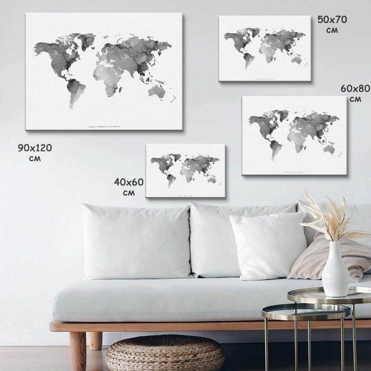 Картина Карта Мира ЧБ