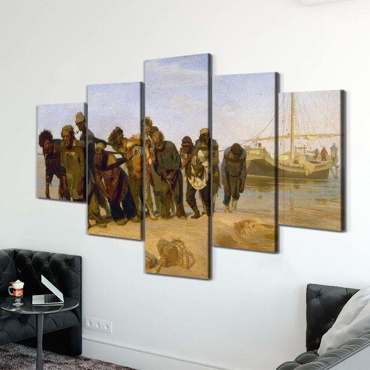 Картина Илья Репин - Бурлаки На Волге