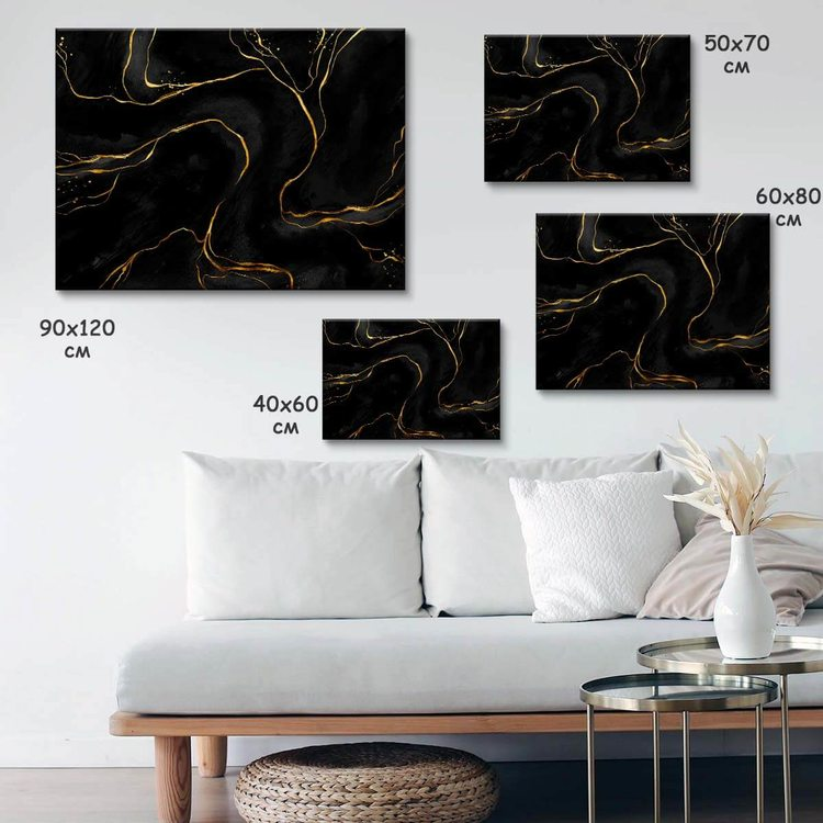 Картина Черно-Золотой Мрамор - p53854