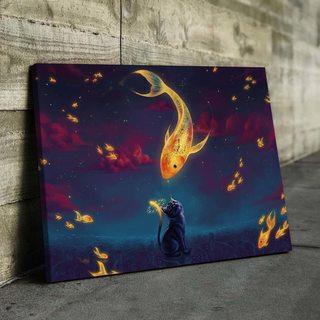 Картина Котик И Рыбки