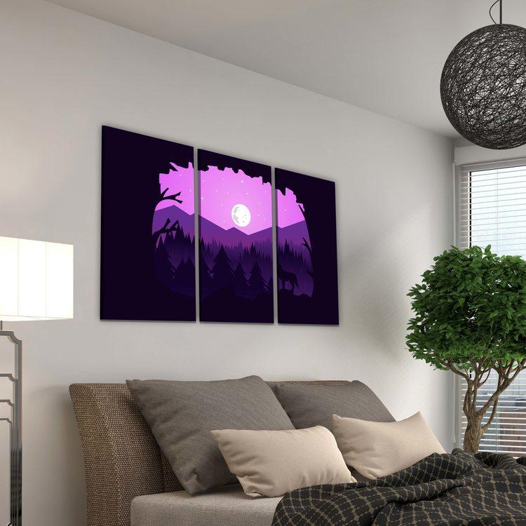 Модульная картина Лиловая Ночь
