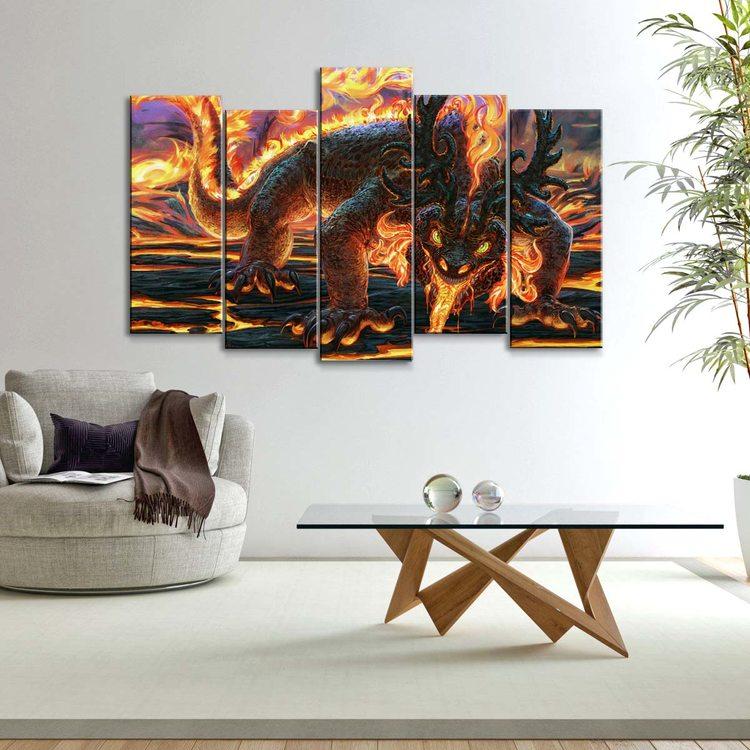 Модульная картина Огненный Саламандр