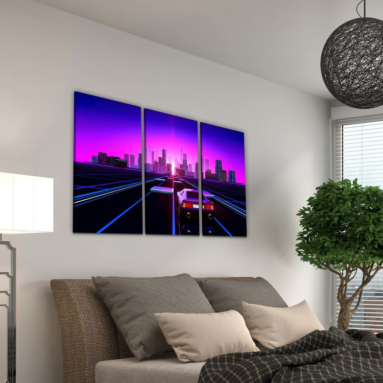 Картина Ретровейв - Neon Mountains