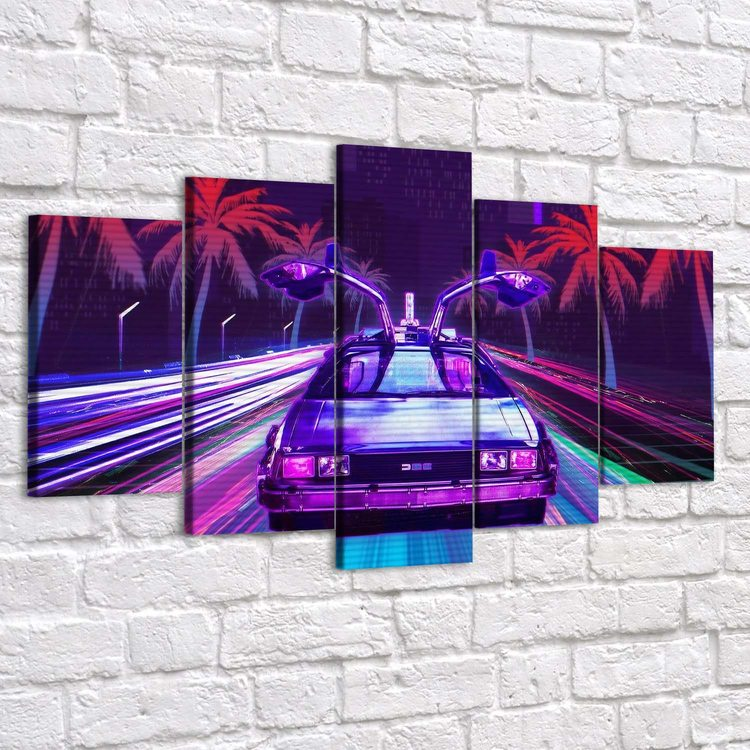Картина Ретровейв - Neon Delorean