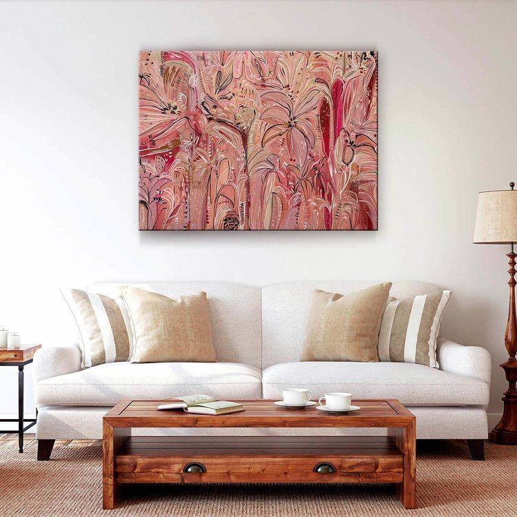 Картина Розовые Цветы Абстракция - p53709