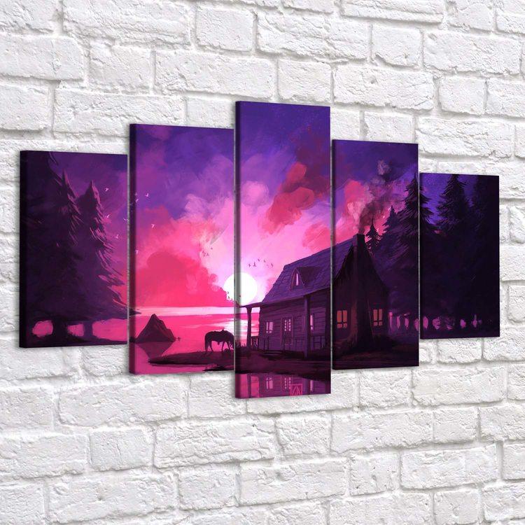 Картина Розовый Закат (Модульная)