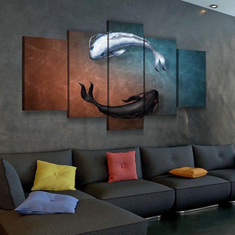 Модульная картина Рыбки Инь И Ян
