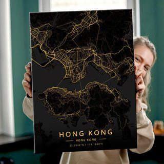 Картина Темная Карта Гонконг