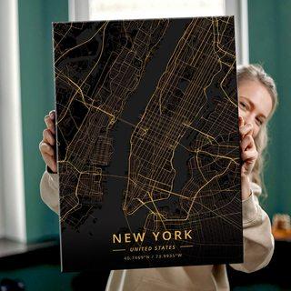 Картина Темная Карта Нью-Йорк