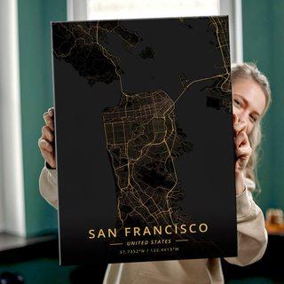 Картина Темная Карта Сан-Франциско