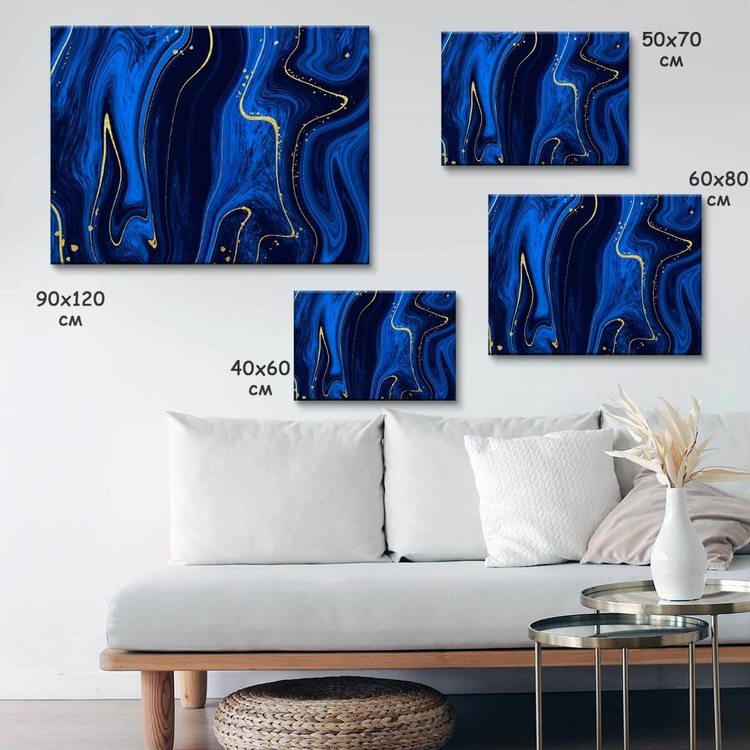 Картина Темно-Синий Мрамор - p53852