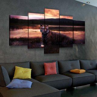 Модульная картина Тигр И Лотос