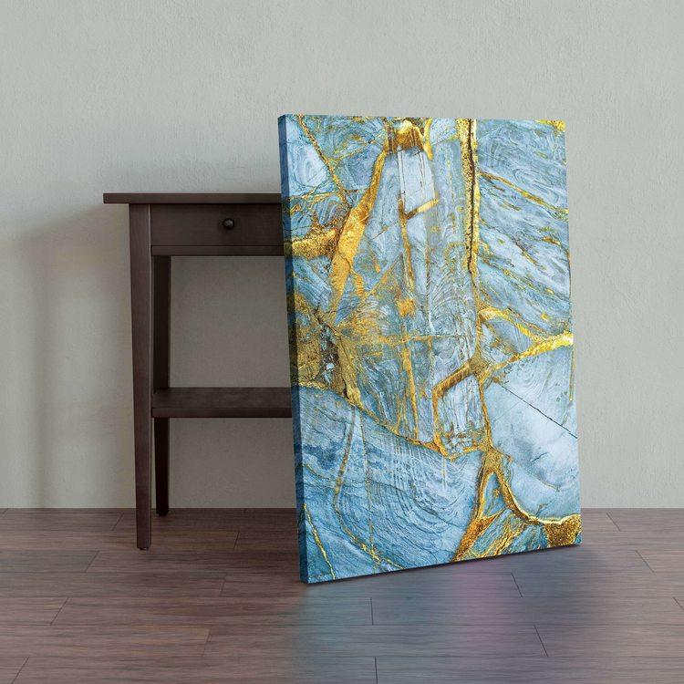 Картина Золотисто-Голубой Мрамор - p53844
