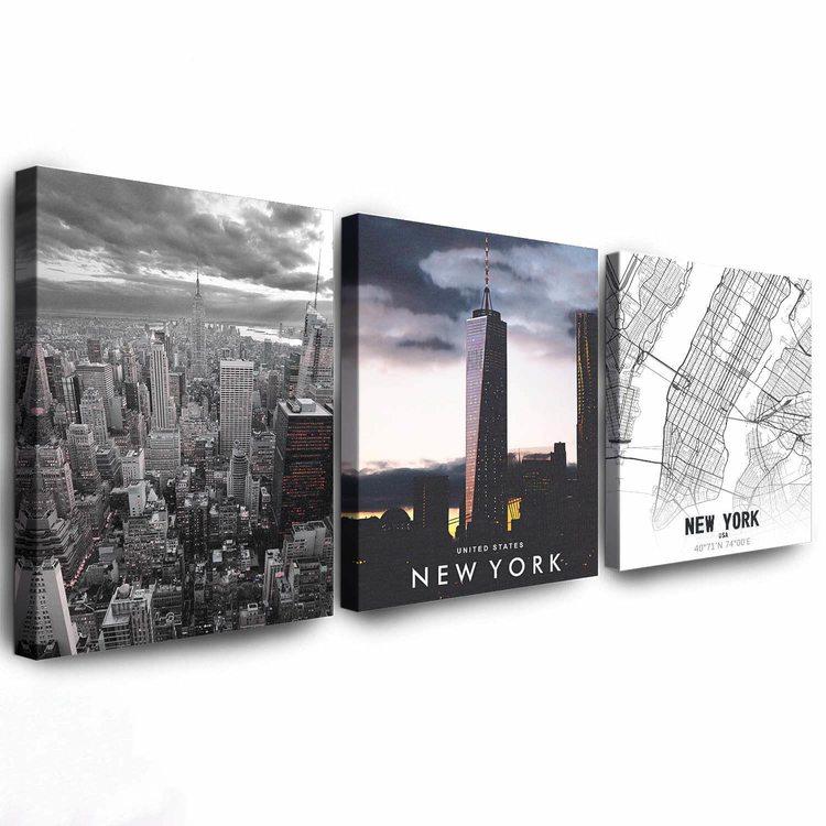 Комплект Картин Нью-Йорк Черно-Белый