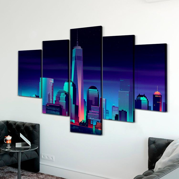 Модульная картина Небоскребы В Пикселях