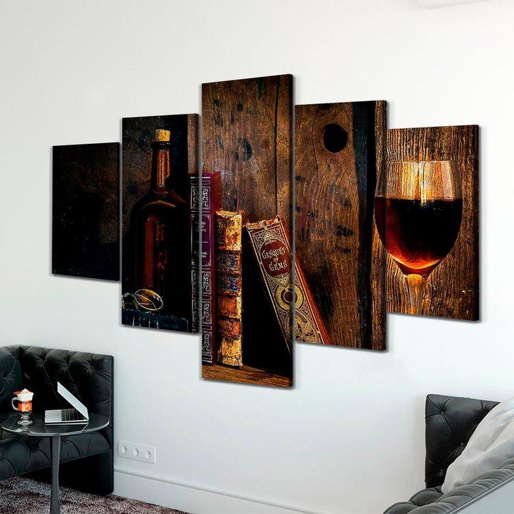 Модульная картина Книги И Вино