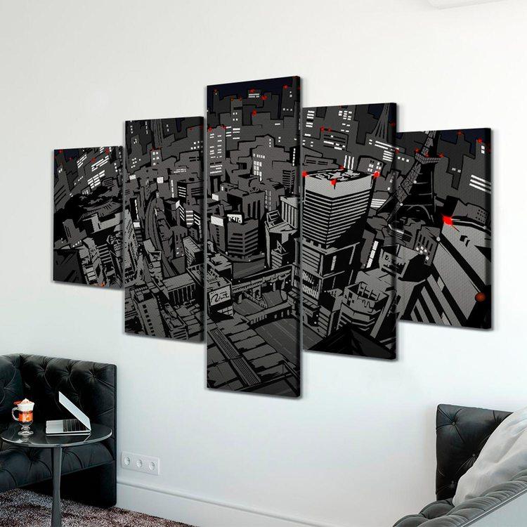 Модульная картина Город Из Комиксов(темный)