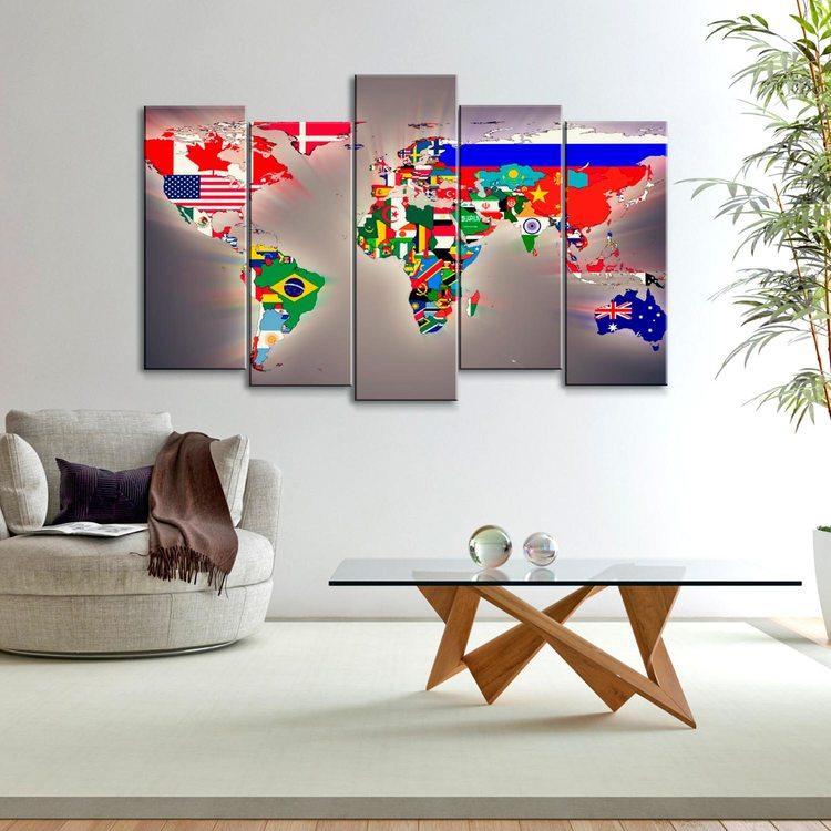 Модульная картина Карта Мира Из Флагов