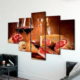 Модульная картина Мясо Сыр И Вино