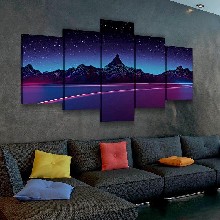 Модульная картина Ночные Горы(абстракция)