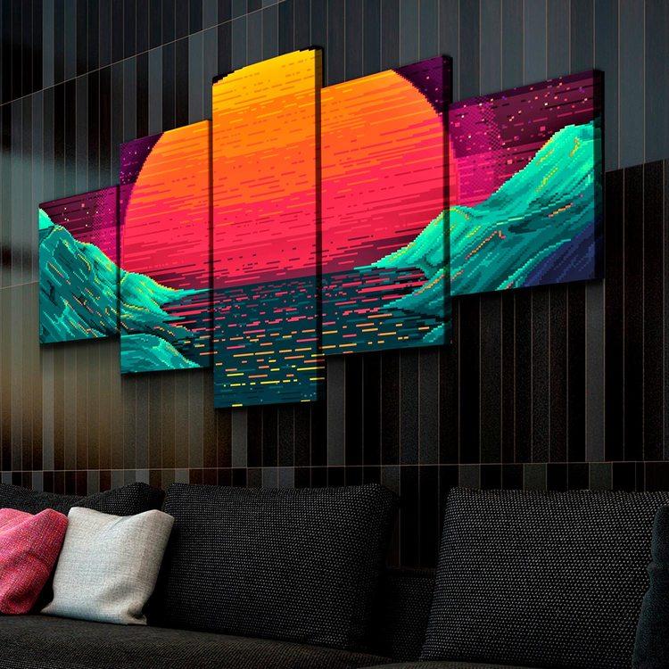 Модульная картина Пиксельный Закат