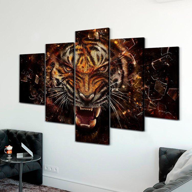 Модульная картина Ярость Тигра