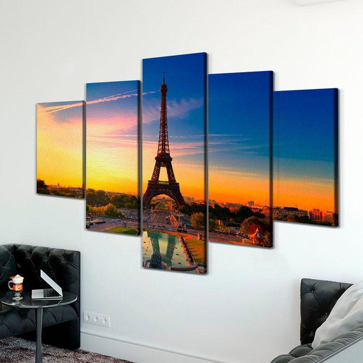 Модульная картина Заход Солнца В Париже