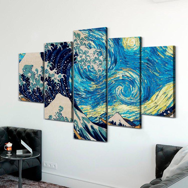 Модульная картина Звездная Ночь и Волны