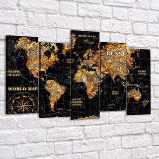 Модульная картина Золотая Карта Мира