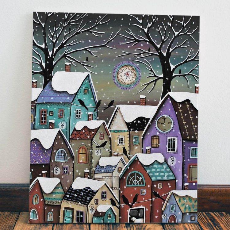 Картина Зимние Домики