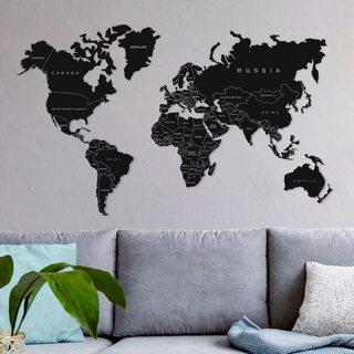 Карта Мира Континенты с текстом [1420х85]