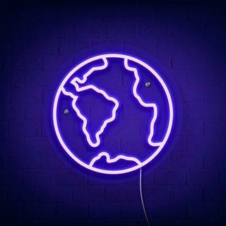 Неоновая вывеска Земля
