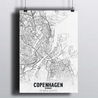 [HD] Постер Карта Копенгаген