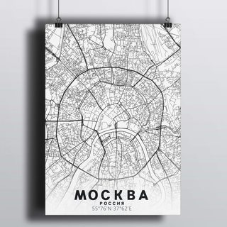 [HD] Постер Карта Москва